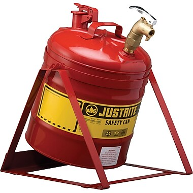 Justrite® Laboratory Safety Cans in Steel & Polyethylene, Steel Plate Tilt Can with Stand