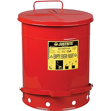 Justrite® Oily Waste Cans, 14 Gal, 16 1/6