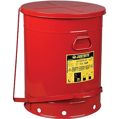 Justrite® Oily Waste Cans, 21 Gal, 8 3/8