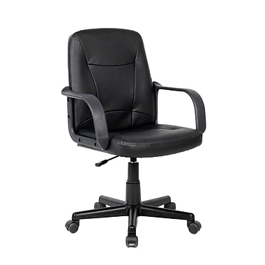CorLiving WHL-103-C Leatherette Office Desk Chair, Black