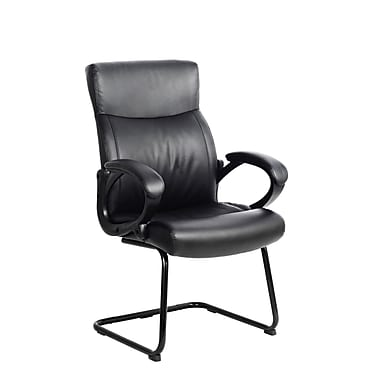 CorLiving WHL-105-C Leatherette Office Guest Chair, Black