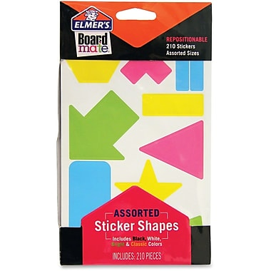 Elmer's Repositionable Assorted Shapes Stickers, Bright Colours, 210/Pack