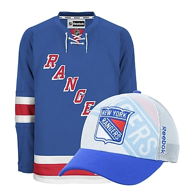 New York Rangers Men's Home Jersey & Draft Cap Bundle, Medium