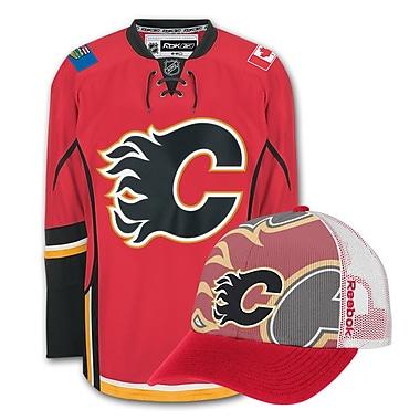 Calgary Flames Men's Home Jersey & Draft Caps Bundle