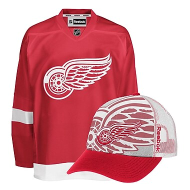 Detroit Redwings Men's Home Jersey & Draft Caps Bundle
