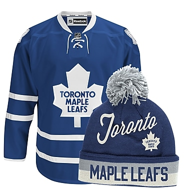 Toronto Maple Leafs Men's Home Jersey & Pom Knit Toque Bundle, Medium