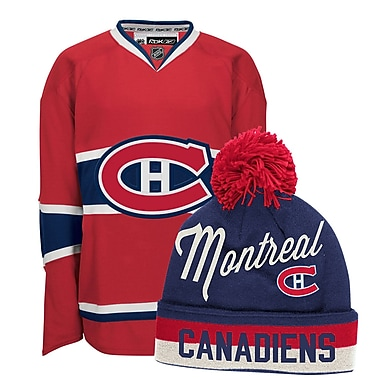 Montreal Canadiens Men's Home Jersey & Pom Knit Toque Bundle