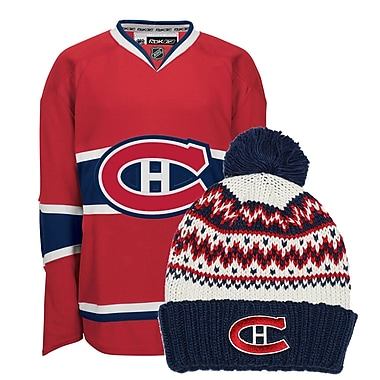 Montreal Canadiens Ladies Home Jersey & Cuffed Knit Toque Bundle