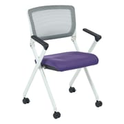 Office Star Space Seating Pulsar White Finish Frame Managers Chair with Screen Back & Purple Padded Fabric Seat - 2/Pack