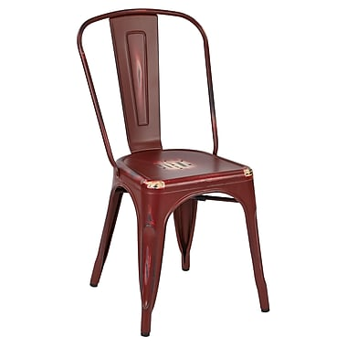 OSP Designs Metal Dining Chair with Backrest, Antique Red