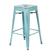 OSP Designs Bristow 26.25'' Industrial Foot Ring/Bar Bar Stool, Antique Sky Blue (BRW3026A4-ASB)