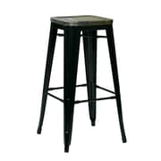 OSP Designs Bristow 30-inch Antique Black Metal & Wood Barstool, Ash Cameron, 4 pk