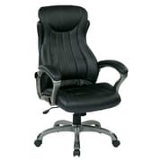 Work Smart Eco Leather Computer and Desk Office Chair, Fixed Arms, Titanium/Black (ECH31827-EC3)