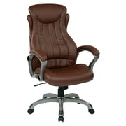 Work Smart Eco Leather Computer and Desk Office Chair, Fixed Arms, Titanium/Wine (ECH31827-EC6)