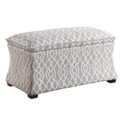 Ave Six Hourglass Polyester & Wood Storage Ottoman, Abby Geo Gray