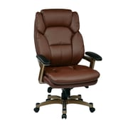 Work Smart Leather Computer and Desk Office Chair, Fixed Arms, Cocoa/Wine (OPH61601-EC6)