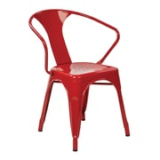 Work Smart Patterson Office Metal Stacking Chair, Red, 2 pk