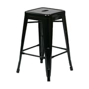 Work Smart Backless 24-inch Steel Barstool, Black, 4 pk