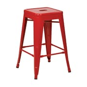 Work Smart Backless 24-inch Steel Barstool, Red, 4 pk