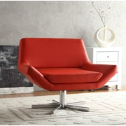 Ave Six Wide Leather & Polyurethane Chair, Red