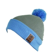 BE Headwear FH0013 Fiendish Pom Pom Bluetooth Beanies with BE-Link System, Heather Gray/Blue