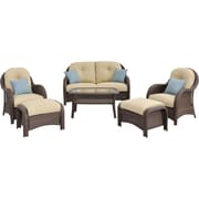 Click here to buy Hanover Outdoor Furniture Newport 6 Piece Deep Seating Wicker Patio Set.