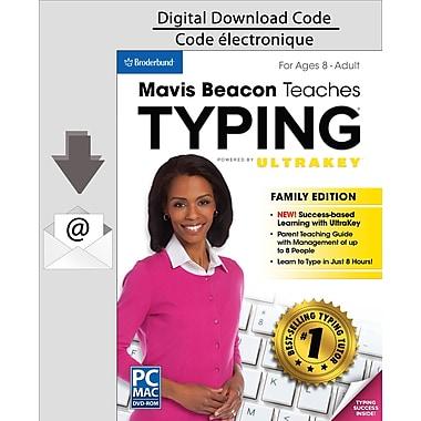 Logiciel de dactylo Mavis Beacon Teaches Typing Powered by UltraKey, version familiale pour PC, anglais (Téléchargement)