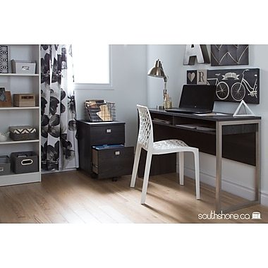 South Shore Interface Desk with Storage, Gray Oak
