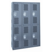 Hallowell Welded 2 Tier 3 Wide Ventilated Locker; 72'' H x 36'' W x 12'' D