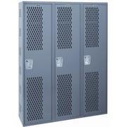 Hallowell Welded 1 Tier 3 Wide Ventilated Locker; 72'' H x 36'' W x 12'' D