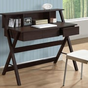 CorLiving Folio Writing Desk with Low Profile Hutch; Modern Wenge