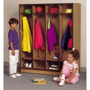 Fleetwood 1 Tier 4-Section Children's Cubbies Locker; Grey Nebula/Black