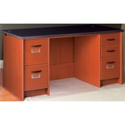 Stevens ID Systems Library Executive Desk with Double Pedestal; Cherry