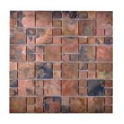 Legion Furniture Random Sized Metal Honed Mosaic Tile in Brown