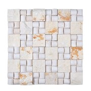 Legion Furniture Random Sized Stone Mosaic Tile in Beige