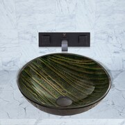 Vigo Green Asteroid Glass Vessel Bathroom Sink and Titus Wall Mount Faucet with Pop Up