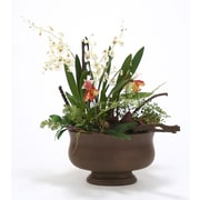 Distinctive Designs Silk Orchids Lady Slippers in Oval Brown Concrete Planter