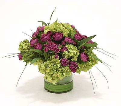 Distinctive Designs Waterlook Ranunculus w/ Hydrangeas in Clear Cylinder Vase WYF078277701023