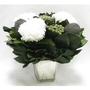 Donny Osmond Preserved Mixed Florals Desk Top Plant in Container; Gray/Natural/White