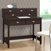 CorLiving Folio Writing Desk with 7 Drawers; Modern Wenge