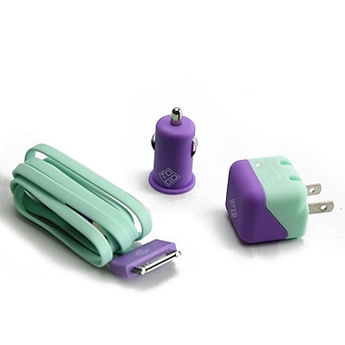 BlueDiamond ToGo Charging Kit for iPhone 4/4S, Purple & Aqua, 3/Pack