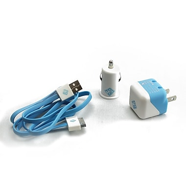 BlueDiamond ToGo Charging Kit for iPhone 4/4S, Blue & White, 3/Pack