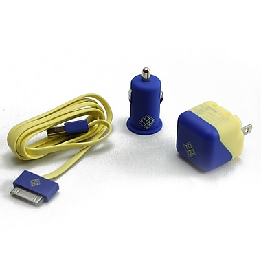 BlueDiamond ToGo Charging Kit for iPhone 4/4S, Yellow & Blue, 3/Pack