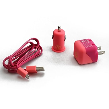 BlueDiamond ToGo – Trousse de chargement pour appareils Android/BlackBerry/Windows Phone, rose et corail, paquet de 3