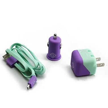 BlueDiamond ToGo Charging Kit for Android/Blackberry/Microsoft Phones, Purple & Aqua, 3/Pack