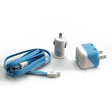 BlueDiamond ToGo Charging Kit for Android/Blackberry/Microsoft Phones, Blue & White, 3/Pack