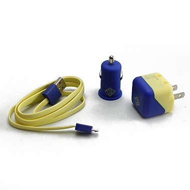 BlueDiamond ToGo Charging Kit for Android/Blackberry/Microsoft Phones, Yellow & Blue, 3/Pack