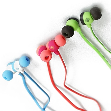 BlueDiamond ToGo Earbuds, Green/Black, Pink/Coral, White/Light Blue, 3/Pack