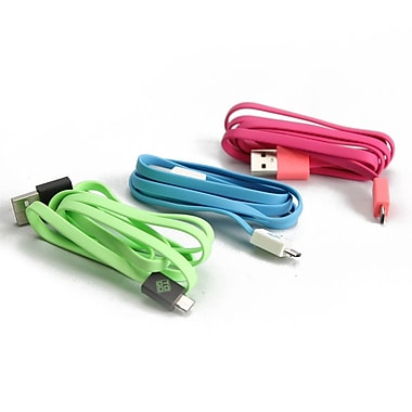 BlueDiamond ToGo Micro USB Sync & Charge Cable, Android/Blackberry/Microsoft, Green/Black, Pink/Coral, White/Light Blue, 3/Pack