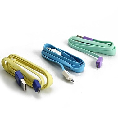 BlueDiamond ToGo Micro USB Sync & Charge Cable, Android/Blackberry/Microsoft, White/Light Blue, Purple/Aqua, Yellow/Blue, 3/Pack